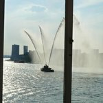 A fire boat welcome in Rotterdam Harbor
