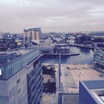 Great views over the quays, the Lowry and media city.