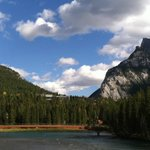 Looking up to Banff Centre from Bow river