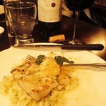Swordfish on top of asparagus risotto