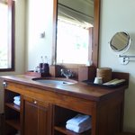The vanity and wash basin in the villa