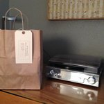 Each room has a turntable - and breakfast was delivered in shopping bag