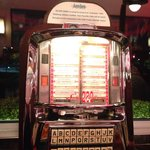 Nice little jukeboxes on each table.