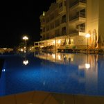 Night view of pool and restaurant