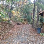 driveway and sideyard with fire ring and swing