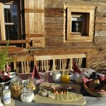 Breakfast on a warm and nice day outside the chalet