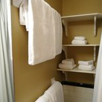 Nifty towel area in large bathroom.