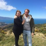 Happy tourists.  In the Wellington wind! :)
