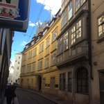 The hotel is the yellow ochre building. Next to it is Mozart's house.