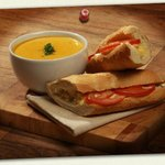 Homemade soup and baguette