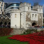 Tower of London with many visitors