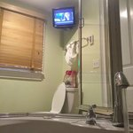 TV in the bathroom is a nice feature of the Olivia room