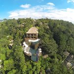 An aerial shot of picturesque Hanging Gardens Ubud, Bali