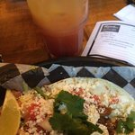 Jerk Taco and Cabin Boy drink at Smalley's Caribbean Barbeque.