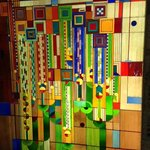 Frank Lloyd Wright designed stained glass in foyer