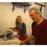 Franco and Marie making home made pasta.