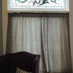 Vintage stained glass window, 1st floor room