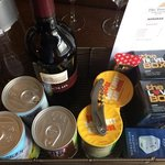 Tray of goodies over the minibar complete with Love Box