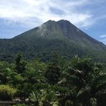 View of Arenal Volcano from our room balcony
