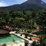 View of the beautiful hotel property with Arenal Volcano from our room balcony