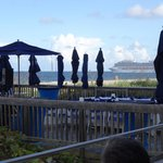 The view from our seats at the pool bar - entertainment
