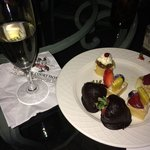 Champagne and desserts on The Club floor rooftop patio.