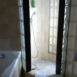 Our room's shower with glass walls!