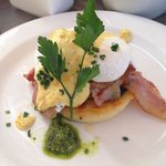 One of the many delicious dishes on the breakfast menu - the egg benedict with bacon, spinach an