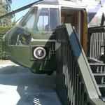 Steps into helicopter