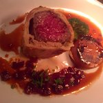Islay Estate Venison 'Wellington' Maderia reduction, Fondant Potato, Beetroot.
