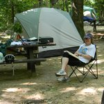 Relaxing at a typical campsite