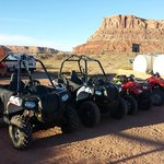 Our ATVs and Polaris ACE all lined up and ready to go