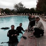 My daughter Cody (in the wheelchair) and her dive team at the Hotel Pool