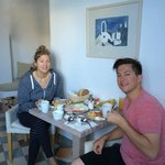 Us eating our amazing room service free breakfast