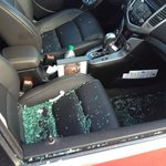 Broken glass inside vehicle