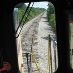 A view from the cab of the locomotive