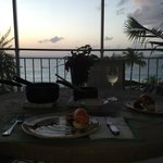 Sunset dinner on our private balcony