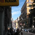 Busy little street but not noisy, next to Piazza Barberini, restaurants, coffee shops, taxi rank