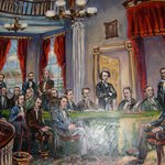 Painting of the meeting of the Founding Fathers in 1864 or so to discuss Confederation