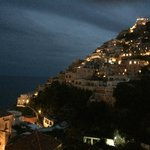 Positano at dusk, viewed from our balcony