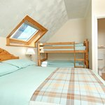 Our family room with double bed and full size bunk beds