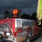 Cherry Tree Inn welcome sign and shuttle bus