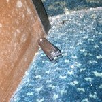 slighlty under the bed just under the mattress on floor(nasty toeclippers and dead bugs and dirt