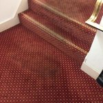Stained, worn carpet just above reception on main staircase