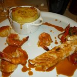 3 fish main course with dry Potate Dauphinoise
