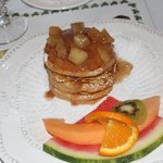 Pumpkin pancakes with spiced apple topping