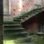 Stone stairs in the service quarters at Kirby Hall