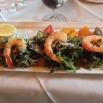 Veal piccata with shrimp