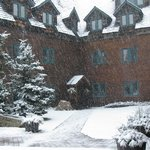 Exterior of the hotel in heavy snow