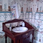 Pretty washstand in the room.